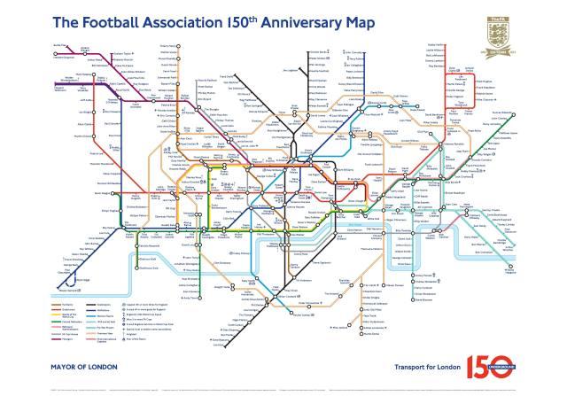 The Football Association 150th Anniversary Tube Map