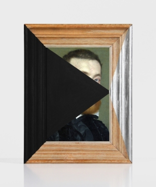 A Study of Angles - paint on found print and frame - 2013 - 7,75 x 6 x 1,25 - 007