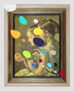 Flea Market Portrait of Girls With Shapes - paint on foudn print and frame - 2013 - 21 x 17 x 1,5 - 006