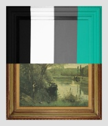 Thrift Store Landscape With Large Bars - paint on found print and frame - 2013 - 28 x 23,5 x 1,5 - 006